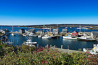 Overview of fishing shacks and boats in the village of Menemsha, Chilmark, Martha's Vineyard, Massachusetts, USA