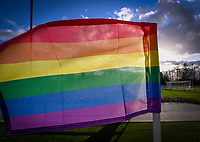LGBTQ Rainbow flag ahead of a female soccer game between Oud Heverlee Leuven and SV Zulte-Waregem on the 16 th matchday of the 2020 - 2021 season of Belgian Womens Super League , sunday 14 th of March 2021  in Heverlee , Belgium . PHOTO SPORTPIX.BE | SPP | DAVID CATRY