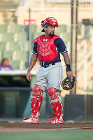 Lakewood BlueClaws catcher Deivi Grullon (11) on defense against the Kannapolis Intimidators at Kannapolis Intimidators Stadium on August 11, 2016 in Kannapolis, North Carolina.  The Intimidators defeated the BlueClaws 3-1.  (Brian Westerholt/Four Seam Images)