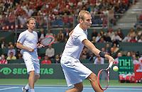 Switserland, Genève, September 19, 2015, Tennis,   Davis Cup, Switserland-Netherlands, Doubles: Dutch team Matwe Middelkoop/Thiemo de Bakker (R) <br /> Photo: Tennisimages/Henk Koster