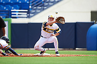 Michigan Wolverines first baseman Carmen Benedetti (43) waits for a pickoff attempt throw during the first game of a doubleheader against the Canisius College Golden Griffins on June 20, 2016 at Tradition Field in St. Lucie, Florida.  Michigan defeated Canisius 6-2.  (Mike Janes/Four Seam Images)