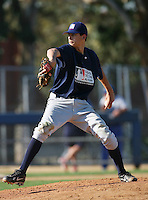 February 10 2008: Edgar Olmos participates in a MLB pre draft workout for high school players at the Urban Youth Academy in Compton,CA.  Photo by Larry Goren/Four Seam Images