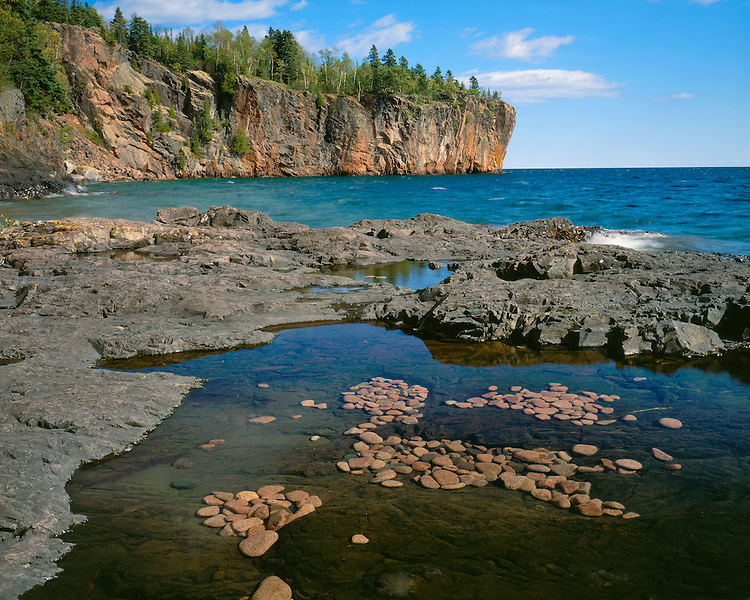Rock filled pools on the shore of Lake Superior; Splitrock Lighthouse State Park, MN