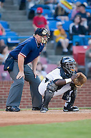 Catcher Francisco Hernandez (47) of the Winston-Salem Warthogs on defense versus the Kinston Indians at Ernie Shore Field in Winston-Salem, NC, Saturday May 17, 2008.
