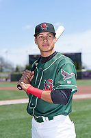 Great Lakes Loons infielder Leonel Valera (8) poses for a photo before a Midwest League game against the Wisconsin Timber Rattlers at Dow Diamond on May 4, 2019 in Midland, Michigan. (Zachary Lucy/Four Seam Images)