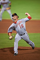 Salt River Rafters pitcher Nick Lee (16) delivers a pitch during an Arizona Fall League game against the Scottsdale Scorpions on October 14, 2015 at Scottsdale Stadium in Scottsdale, Arizona.  Scottsdale defeated Salt River 13-3.  (Mike Janes/Four Seam Images)