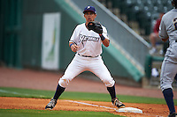 NW Arkansas Naturals second baseman Kenny Diekroeger (8) waits for a throw during a game against the San Antonio Missions on May 30, 2015 at Arvest Ballpark in Springdale, Arkansas.  San Antonio defeated NW Arkansas 5-1.  (Mike Janes/Four Seam Images)