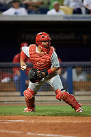 Palm Beach Cardinals catcher Jeremy Martinez (13) during a game against the Charlotte Stone Crabs on April 11, 2017 at Charlotte Sports Park in Port Charlotte, Florida.  Palm Beach defeated Charlotte 12-6.  (Mike Janes/Four Seam Images)