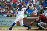 Chicago Cubs Alfonso Soriano #12 during a game against the Houston Astros at Wrigley Field on June 29, 2012 in Chicago, Illinois.  Chicago defeated Houston 4-0.  (Mike Janes/Four Seam Images)