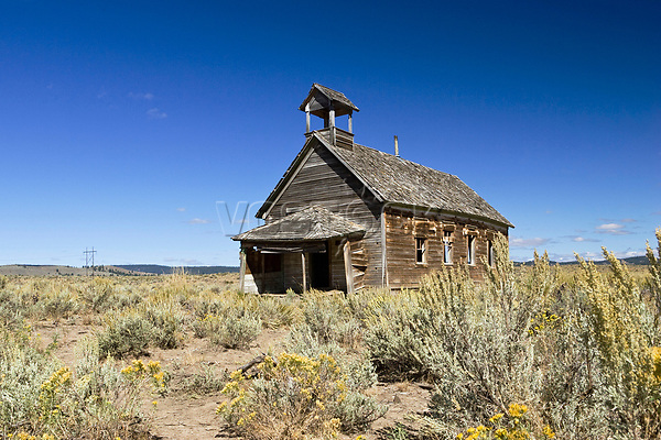 Old schoolhouse, wildwest, Oregon, USA