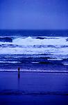 Scene on Oregon Coast during storm at Manzanita Beach.