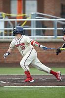 Jay Curtis (10) of the Dayton Flyers follows through on his swing against the Campbell Camels at Jim Perry Stadium on February 28, 2021 in Buies Creek, North Carolina. The Camels defeated the Flyers 11-2. (Brian Westerholt/Four Seam Images)