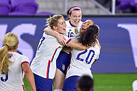 18th February 2021, Orlando, Florida, USA;  United States midfielder Rose Lavelle (16) celebrates with United States defender Margaret Purce (23) and teammates after scoring a goal during a SheBelieves Cup game between Canada and the United States on February 18, 2021 at Exploria Stadium in Orlando, FL.