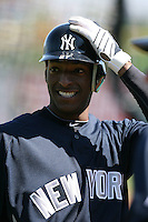 March 4, 2010:  Outfielder Greg Golson of the New York Yankees during a Spring Training game at Bright House Field in Clearwater, FL.  Photo By Mike Janes/Four Seam Images