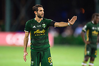 LAKE BUENA VISTA, FL - AUGUST 11: Diego Valeri #8 of the Portland Timbers directing a free kick during a game between Orlando City SC and Portland Timbers at ESPN Wide World of Sports on August 11, 2020 in Lake Buena Vista, Florida.