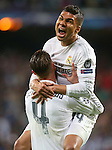 Real Madrid's Sergio Ramos (l) and Carlos Henrique Casemiro celebrate the victory in the Champions League 2015/2016 Quarter-finals 2nd leg match. April 12,2016. (ALTERPHOTOS/Acero)