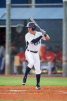 GCL Rays center fielder Jake Stone (8) at bat during the second game of a doubleheader against the GCL Twins on July 18, 2017 at Charlotte Sports Park in Port Charlotte, Florida.  GCL Twins defeated the GCL Rays 4-2 after the game was postponed in the second inning to the following day at Charlotte Sports Park in Port Charlotte, Florida.  (Mike Janes/Four Seam Images)