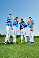 Tampa Bay Rays (L-R) Matthew Liberatore, Ronaldo Hernandez, Wander Franco, and Brendan McKay during a Baseball America Photo Shoot on March 9, 2019 at Charlotte Sports Park in Port Charlotte, Florida.  (Mike Janes/Four Seam Images)