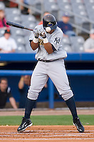 Jose Tabata (57) of the Trenton Thunder can't avoid an inside pitch as he is hit on the left forearm at Dodd Stadium in Norwich, CT, Tuesday, June 3, 2008.