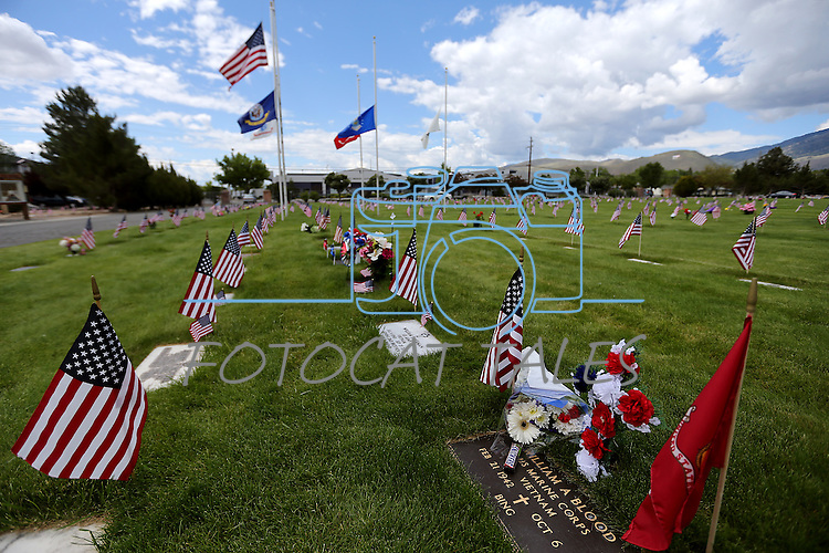 Images from the veterans section of Lone Mountain Cemetery in Carson City, Nev., on Monday, May 25, 2015. <br /> Photo by Cathleen Allison