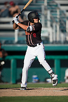 Modesto Nuts first baseman Evan White (18) at bat during a California League game against the San Jose Giants at John Thurman Field on May 9, 2018 in Modesto, California. San Jose defeated Modesto 9-5. (Zachary Lucy/Four Seam Images)
