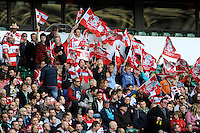 Gloucester Rugby fans during the Aviva Premiership match between London Wasps and Gloucester Rugby at Twickenham Stadium on Saturday 19th April 2014 (Photo by Rob Munro)