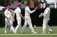 Charlie Griffiths of Brentwood celebrates with his team mates after taking the wicket of Shahbaz Khan during Brentwood CC (bowling) vs Harold Wood CC, Hamro Foundation Essex League Cricket at The Old County Ground on 12th June 2021