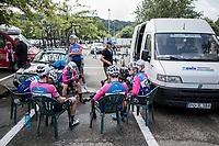 open team-meeting for team CCB Velotooler<br /> <br /> <br /> 2nd Dwars door het Hageland 2017 (UCI 1.1)<br /> Aarschot > Diest : 193km