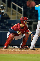 Washington Nationals catcher Tres Barrera (38) during a Major League Spring Training game against the Miami Marlins on March 20, 2021 at FITTEAM Ballpark of the Palm Beaches in Palm Beach, Florida.  (Mike Janes/Four Seam Images)