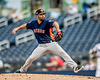 27 February 2019: Houston Astros pitcher Jose Hernandez on the mound in pre-season action against the Washington Nationals at the Ballpark of the Palm Beaches in West Palm Beach, Florida. The Nationals defeated the Astros 14-8 in their Spring Training Grapefruit League matchup. Mandatory Credit: Ed Wolfstein Photo *** RAW (NEF) Image File Available ***