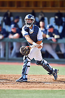 North Carolina Tar Heels catcher Cody Roberts (11) throws to second base during a game against the Pittsburgh Panthers at Boshamer Stadium on March 17, 2018 in Chapel Hill, North Carolina. The Tar Heels defeated the Panthers 4-0. (Tony Farlow/Four Seam Images)