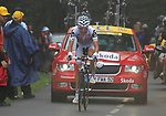 Carlos Sastre (ESP) Cervelo Test Team approaches the summit of the Cat 1 climb at Col du Marie Blanque after attacking out of the peloton during a wet foggy Stage 17 of the 2010 Tour de France running 174km from Pau to Col du Tourmalet, France. 22nd July 2010.<br /> (Photo by Eoin Clarke/NEWSFILE).<br /> All photos usage must carry mandatory copyright credit (© NEWSFILE | Eoin Clarke)