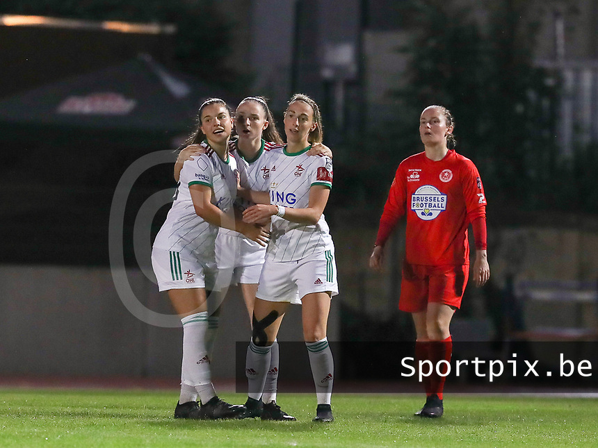Luna Vanzeir (10) of OHL, Estee Cattoor (11) of OHL and Charlotte Cranshoff (18) of OHL celebrate  the goal during a female soccer game between FC Femina White Star Woluwe and Oud Heverlee Leuven on the fourth matchday in the 2021 - 2022 season of Belgian Scooore Womens Super League , Friday 10 th of September 2021  in Woluwe , Belgium . PHOTO SPORTPIX   SEVIL OKTEM