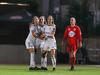 Luna Vanzeir (10) of OHL, Estee Cattoor (11) of OHL and Charlotte Cranshoff (18) of OHL celebrate  the goal during a female soccer game between FC Femina White Star Woluwe and Oud Heverlee Leuven on the fourth matchday in the 2021 - 2022 season of Belgian Scooore Womens Super League , Friday 10 th of September 2021  in Woluwe , Belgium . PHOTO SPORTPIX | SEVIL OKTEM