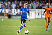 SAN JOSE, CA - JULY 24: Carlos Fierro #7 of the San Jose Earthquakes dribbles the ball during a game between San Jose Earthquakes and Houston Dynamo at PayPal Park on July 24, 2021 in San Jose, California.