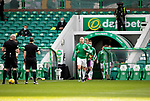 Celtic v St Johnstone…12.05.21  SPFL Celtic Park<br />Scott Brown leads the Celtic players out for the last time at Celtic Park<br />Picture by Graeme Hart.<br />Copyright Perthshire Picture Agency<br />Tel: 01738 623350  Mobile: 07990 594431