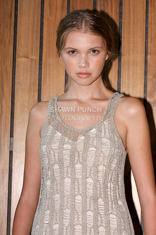 Head shot of model posing in an outfit from the M. Patmos Spring 2012 collection presentation, by Marcia Patmos, at the Standard Hotel during New York Fashion Week, September 8th, 2011.