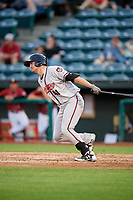 Richmond Flying Squirrels pinch hitter Jeff Arnold (41) follows through on a swing during a game against the Altoona Curve on May 15, 2018 at Peoples Natural Gas Field in Altoona, Pennsylvania.  Altoona defeated Richmond 5-1.  (Mike Janes/Four Seam Images)