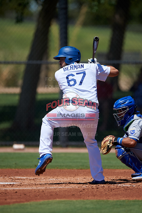 AZL Dodgers Lasorda catcher Steve Berman (67) at bat during a rehab assignment in an Arizona League game against the AZL Royals on July 4, 2019 at Camelback Ranch in Glendale, Arizona. The AZL Royals defeated the AZL Dodgers Lasorda 4-1. (Zachary Lucy/Four Seam Images)