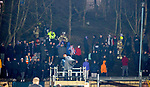 03.03.2021 Livingston v Rangers: Police and fire brigade staff in attendance after Rangers fans let off fireworks on 55th minute