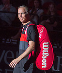 Todd Martin (USA) loses to John McEnroe (USA) 6-3,  at the PowerShares Champions Cup, in Boston, Massachusetts on April 22, 2015.