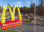 McDonald's, Clark Road, Paradise <br /> One of the curiosities of fire behavior is its inconsistencies: a surprising number of plastic roadside signs emerged relatively unscathed, while others did not fare as well. Common plastics have a wide range of melting temperatures from 200-500 degrees Fahrenheit (100-260 Celsius). The Camp Fire Inferno had temperatures estimated to have exceeded 3000 degrees Fahrenheit.