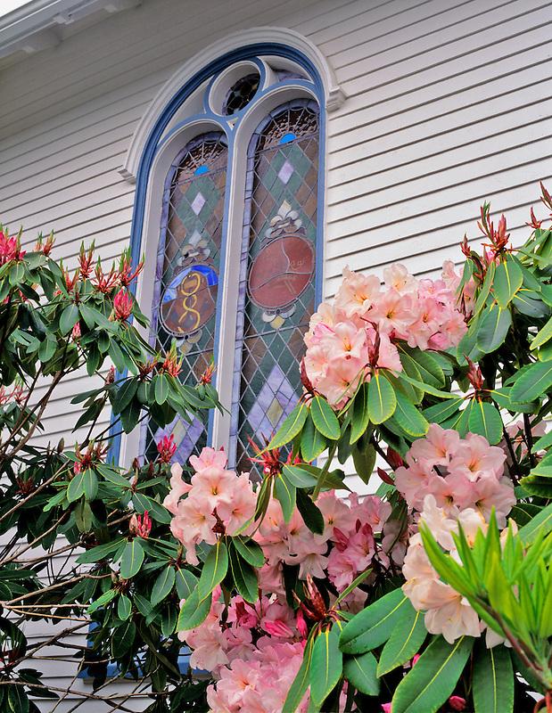 Flowers in front of church window in Astoria, Oregon.