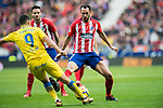 Diego Roberto Godin Leal (R) of Atletico de Madrid battles for the ball with Jonathan Calleri of UD Las Palmas during the La Liga 2017-18 match between Atletico de Madrid and UD Las Palmas at Wanda Metropolitano on January 28 2018 in Madrid, Spain. Photo by Diego Souto / Power Sport Images