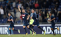 Calcio, Serie A: Roma, stadio Olimpico, 20 settembre 2017.<br /> Napoli's Dries Mertens celebrates after scoring with hi teammates during the Italian Serie A football match between Lazio and Napoli at Rome's Olympic stadium, September 20, 2017.<br /> UPDATE IMAGES PRESS/Isabella Bonotto