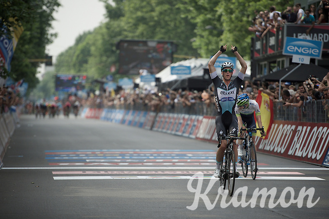 Victory for Iljo Keisse (BEL/Etixx-QuickStep); the EQS domestique with the biggest win of his career and a graceful tribute/reminder to his buddy Wouter Weylandt (#108)<br /> Luke Durbridge (AUS/Orica-GreenEDGE) finishes 2nd.<br /> <br /> Giro d'Italia 2015<br /> final stage 21: Torino - Milano (178km)