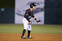Grant Massey (28) of the Kannapolis Intimidators takes his lead off of second base against the Lakewood BlueClaws at Kannapolis Intimidators Stadium on April 6, 2017 in Kannapolis, North Carolina.  The BlueClaws defeated the Intimidators 7-5.  (Brian Westerholt/Four Seam Images)