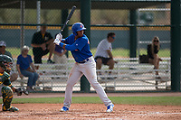 Chicago Cubs right fielder Nelson Velazquez (20) at bat during a Minor League Spring Training game against the Oakland Athletics at Sloan Park on March 13, 2018 in Mesa, Arizona. (Zachary Lucy/Four Seam Images)