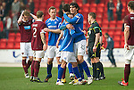 St Johnstone v Hearts....24.03.12   SPL.Fran Sandaza celebrates with Jody Morris at full time.Picture by Graeme Hart..Copyright Perthshire Picture Agency.Tel: 01738 623350  Mobile: 07990 594431