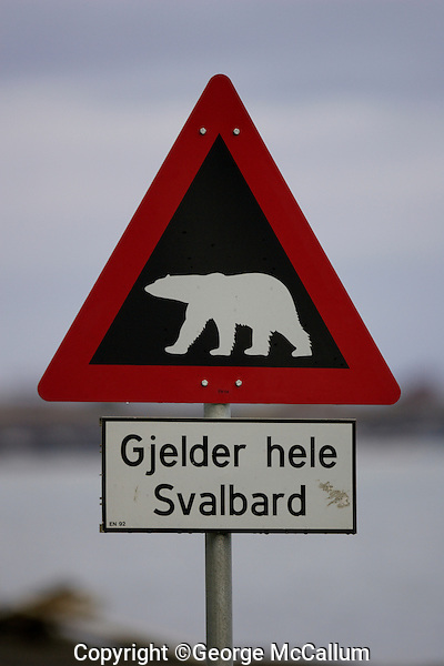 Polar bear warning sign at town limit of Longyearbyen  on Spitzbergen 900km from the North Pole